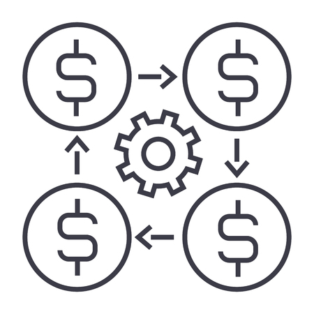 Finance management line icon.