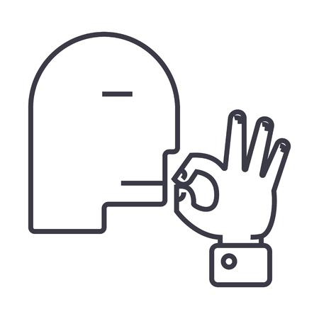 Man doing hand gesture on line icon, sign, symbol illustration. Illustration