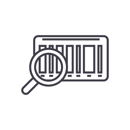 Tracking code, bar code  on line icon, sign, symbol illustration. Illustration