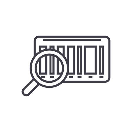 Tracking code, bar code  on line icon, sign, symbol illustration. Ilustrace