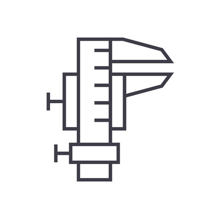 Caliper tool line icon.