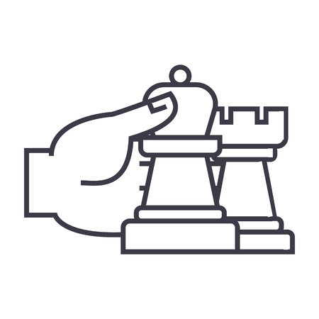 チェスの戦略と戦術線のアイコン。  イラスト・ベクター素材