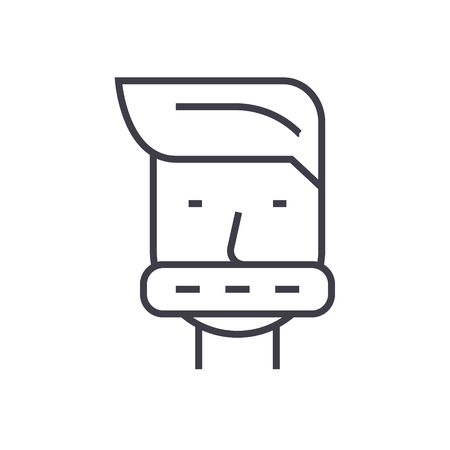 Closed mouth line icon. Illustration