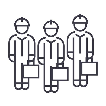 Technician team line icon. Illustration