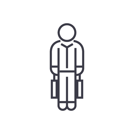 Shopping man with bags line icon.