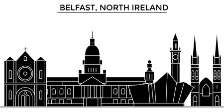 Belfast, North Ireland architecture vector city skyline, black cityscape with landmarks, isolated sights on background