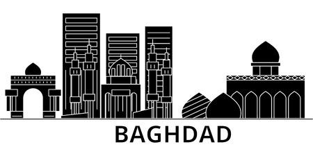 Horizon van de de architectuur de vectorstad van Bagdad, zwarte cityscape met oriëntatiepunten, geïsoleerdee gezichten op achtergrond