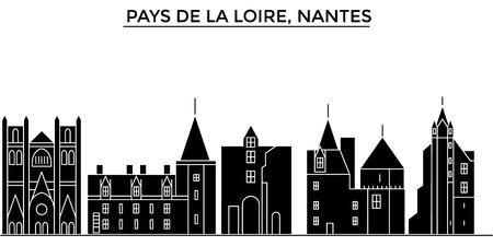 フランス、ペイ ・ ド ・ ラ ・ ロワール、ナント アーキテクチャ。  イラスト・ベクター素材