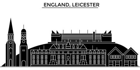 イングランド、レスターのアーキテクチャ。  イラスト・ベクター素材