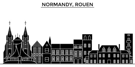 France, Normandy, Rouen architecture. Stock Illustratie