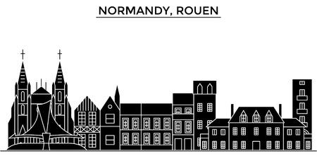 France, Normandy, Rouen architecture. Stock Illustratie
