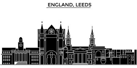 영국, 리즈 건축 도시 스카이 라인 일러스트