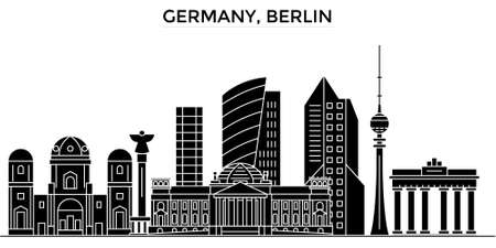 tv tower: Germany city architecture illustration.