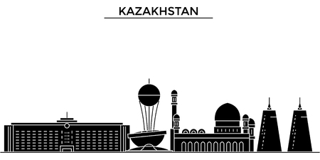 Kazakistan city architecture illustration.