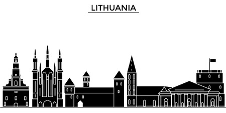 Lithuania city architecture illustration. Иллюстрация