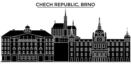チェコ共和国、ブルノ建築ベクトル街並み、黒都市の景観、ランドマークと分離された背景の観光スポット