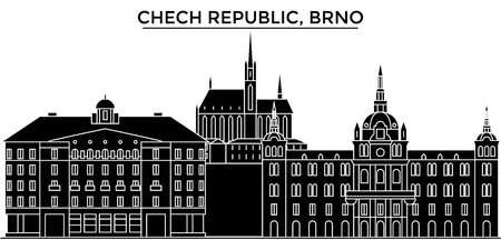 Chech Republic, Brno architecture vector city skyline, black cityscape with landmarks, isolated sights on background