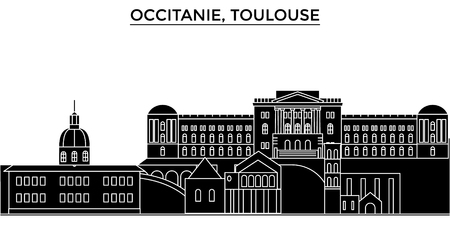 France, Occitanie, Toulouse architecture vector city skyline, black cityscape with landmarks, isolated sights on background