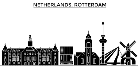 Netherlands, Rotterdam architecture vector city skyline, black cityscape with landmarks, isolated sights on background