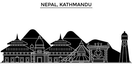 Nepal, de horizon van de de architectuur vectorstad van Kathmandu, zwarte cityscape met oriëntatiepunten, geïsoleerde gezichten op achtergrond
