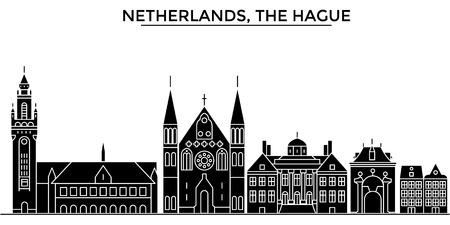 Nederland, de horizon van de de architectuur vectorstad van Den Haag, zwarte cityscape met oriëntatiepunten, geïsoleerdee gezichten op achtergrond