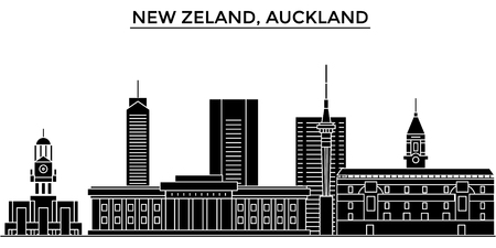 New Zeland, Auckland architecture vector city skyline, black cityscape with landmarks, isolated sights on background Иллюстрация