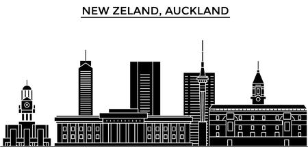 Nuova Zelanda, skyline della città vettoriale architettura di Auckland, paesaggio urbano nero con punti di riferimento, luoghi isolati su sfondo Archivio Fotografico - 88548626