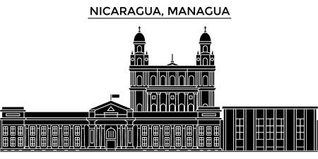 니카라과, 마뉴 아아 아키텍처 랜드 마크, 격리 된 함께 검은 도시 풍경을 벡터 도시 스카이 라인 배경 일러스트