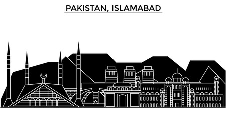 Pakistan, Islamabad architecture vector city skyline, black cityscape with landmarks, isolated sights on background