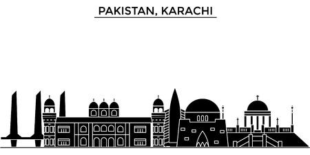 パキスタン、カラチ建築ベクトル都市のスカイライン、ランドマークと黒の街並み、背景に孤立した観光スポット