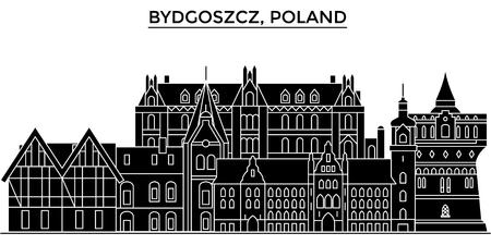 Poland, Bydgoszcz architecture vector city skyline, black cityscape with landmarks, isolated sights on background Illustration