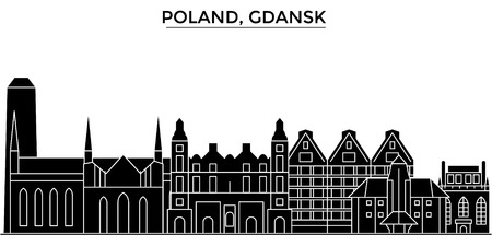 Poland, Gdansk architecture vector city skyline, black cityscape with landmarks, isolated sights on background