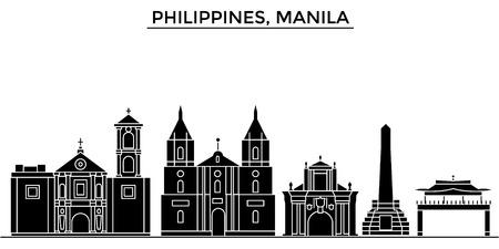 Filippijnen, vector de stadshorizon van de Manillaarchitectuur, zwarte cityscape met oriëntatiepunten, geïsoleerdee gezichten op achtergrond