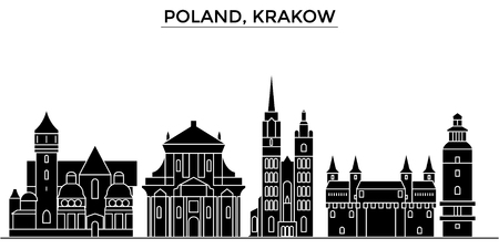 Poland, Krakow architecture vector city skyline, black cityscape with landmarks, isolated sights on background