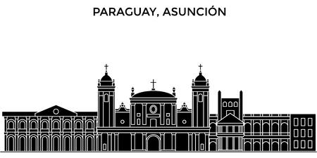 Paraguay, Asuncion-skyline van de architectuur de vectorstad, reiscityscape met oriëntatiepunten, gebouwen, geïsoleerde gezichten op achtergrond