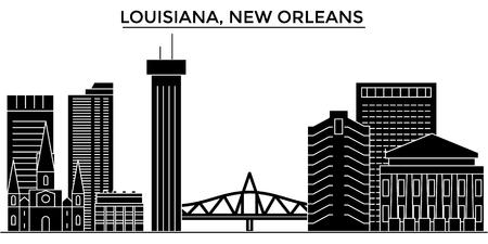 ルイジアナ州ニューオーリンズの建築都市のスカイライン  イラスト・ベクター素材