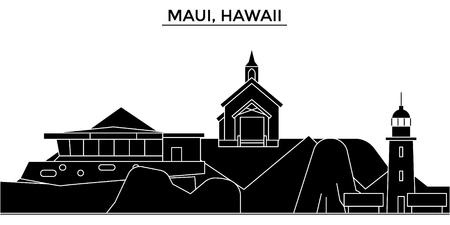 마우이, 하와이 건축 도시의 스카이 라인