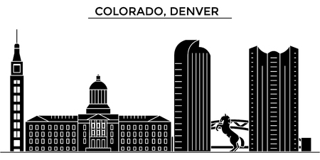 Colorado, Denver architecture city skyline Illustration