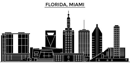 マイアミの建築都市のスカイライン  イラスト・ベクター素材