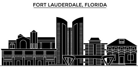 フォート ・ ローダー デール建築都市スカイライン  イラスト・ベクター素材