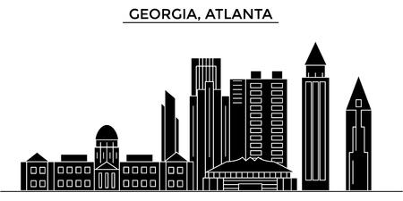 ジョージア州アトランタの建築都市のスカイライン  イラスト・ベクター素材