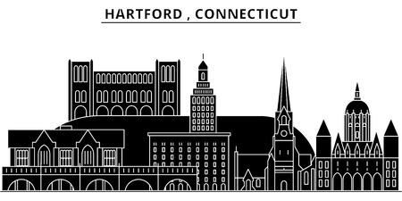 ハートフォード、コネチカット州建築都市スカイライン  イラスト・ベクター素材