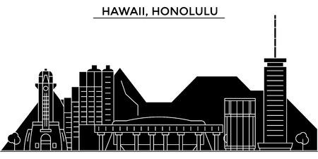 ハワイ、ホノルルの建築都市のスカイライン  イラスト・ベクター素材