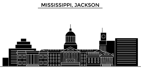 De horizon van de de architectuurstad van de Mississippi, Jackson Vector Illustratie