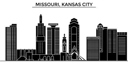 Horizonte de la ciudad de la arquitectura de Missouri, Kansas City Foto de archivo - 88558064