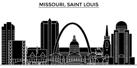 ミズーリ州セントルイスの建築都市のスカイライン  イラスト・ベクター素材