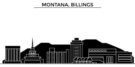 モンタナ州ビリングス建築都市スカイライン  イラスト・ベクター素材