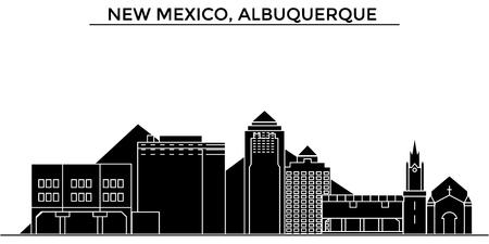 アメリカ、ニュー メキシコ州、アルバカーキ建築ベクトル都市スカイライン、黒景観、ランドマークと分離された背景の観光スポット  イラスト・ベクター素材