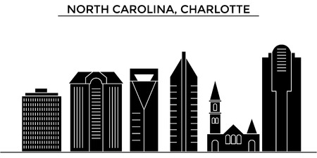 Usa, North Carolina, Charlotte architecture vector city skyline, black cityscape with landmarks, isolated sights on background