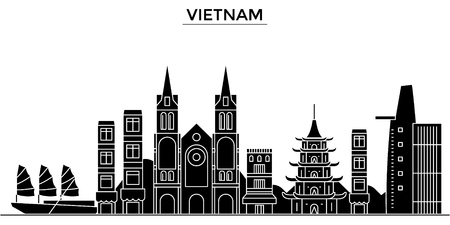 Vietnam architecture vector city skyline, black cityscape with landmarks, isolated sights on background.